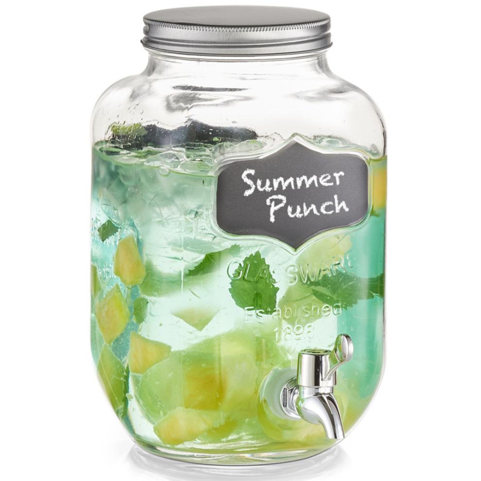 1x Glazen drank dispensers met krijtlabel 3,8 liter
