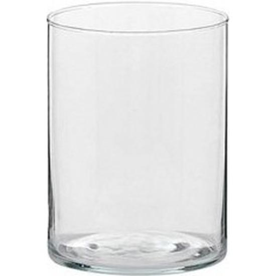 1x Hoge theelichthouder-waxinelichthouder van glas 5,5 x 6,5 cm