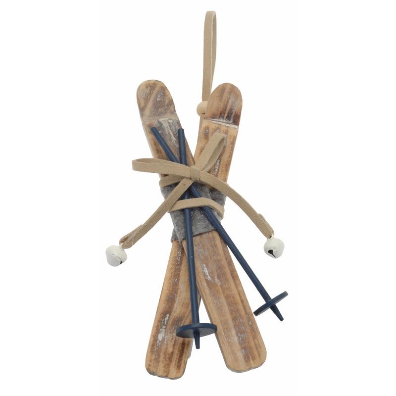 1x Kerstboom decoratie houten ski set 16 cm