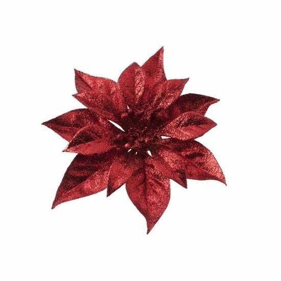1x Kerstboomversiering bloem op clip rode kerstster 18 cm