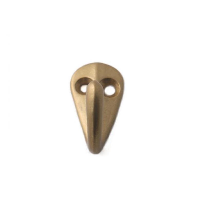 1x Luxe kapstokhaken-jashaken-kapstokhaakjes aluminium bronskleurig enkele haak 3,6 x 1,9 cm