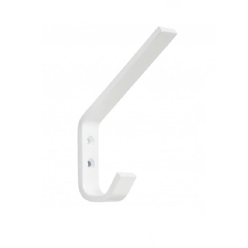 1x Luxe kapstokhaken-jashaken-kapstokhaakjes hoog wit hoogwaardig aluminium 7,8 x 1,18 cm