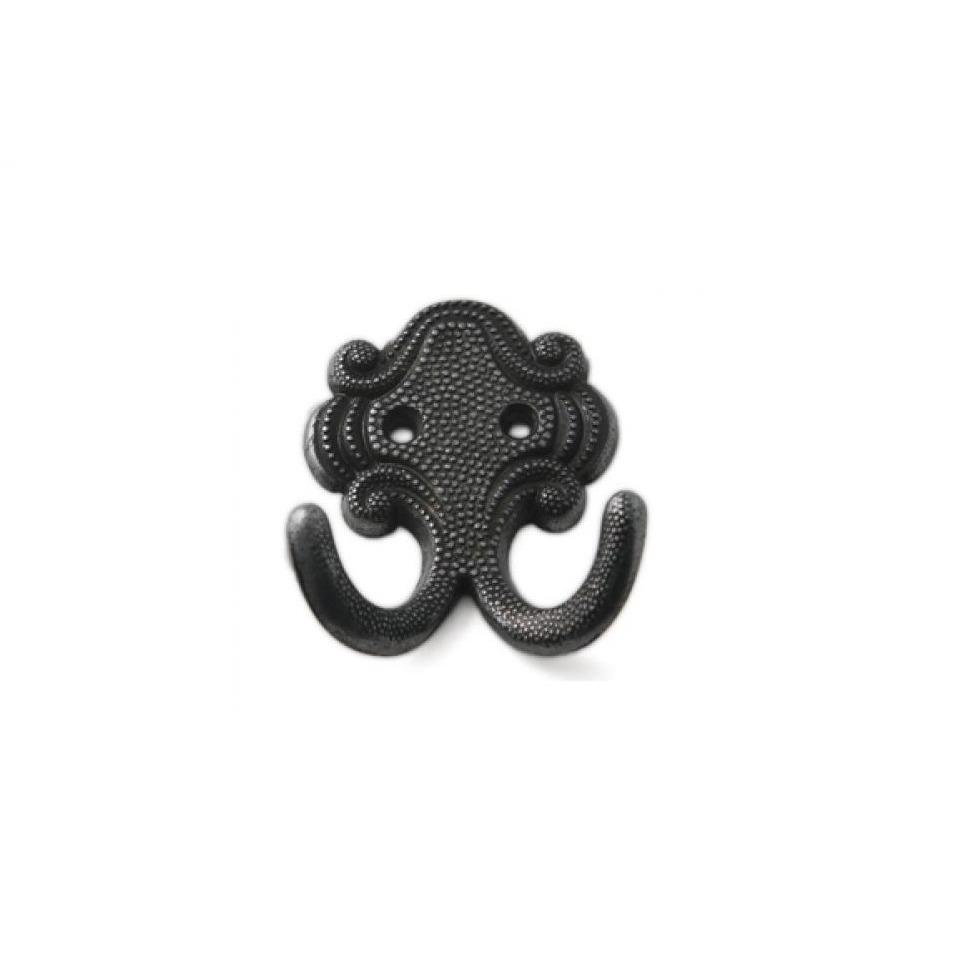 1x Luxe kapstokhaken-jashaken-kapstokhaakjes zamac zwart dubbele haak 6,7 x 5,2 cm