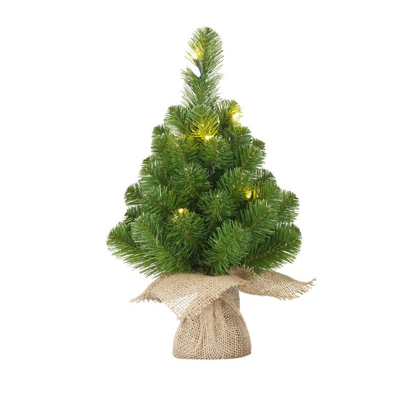 1x Mini kunst kerstbomen-kerstbomen met 15 groene LED lampjes 60 cm