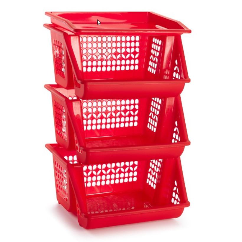 1x Rode opberg kratten-kasten-organizers 3 vakken 62 x 32 cm