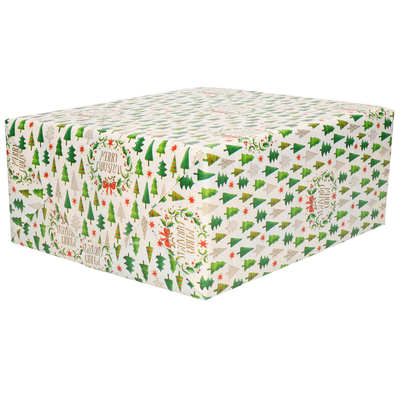 1x Rollen Kerst cadeaupapier-inpakpapier wit met mini Kerstboompjes print 200 x 70 cm