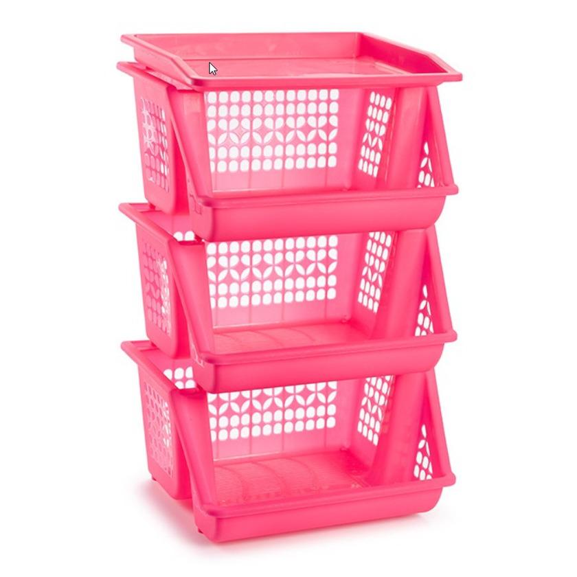 1x Roze opberg kratten-kasten-organizers 3 vakken 62 x 32 cm
