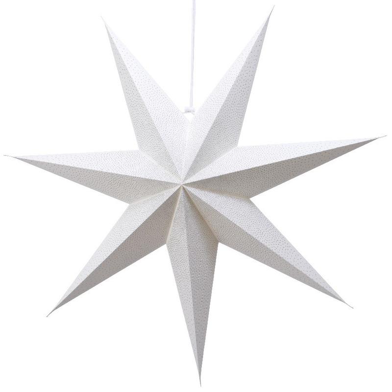 1x Witte glitter kerstster lampionnen met E14 fitting 60 cm