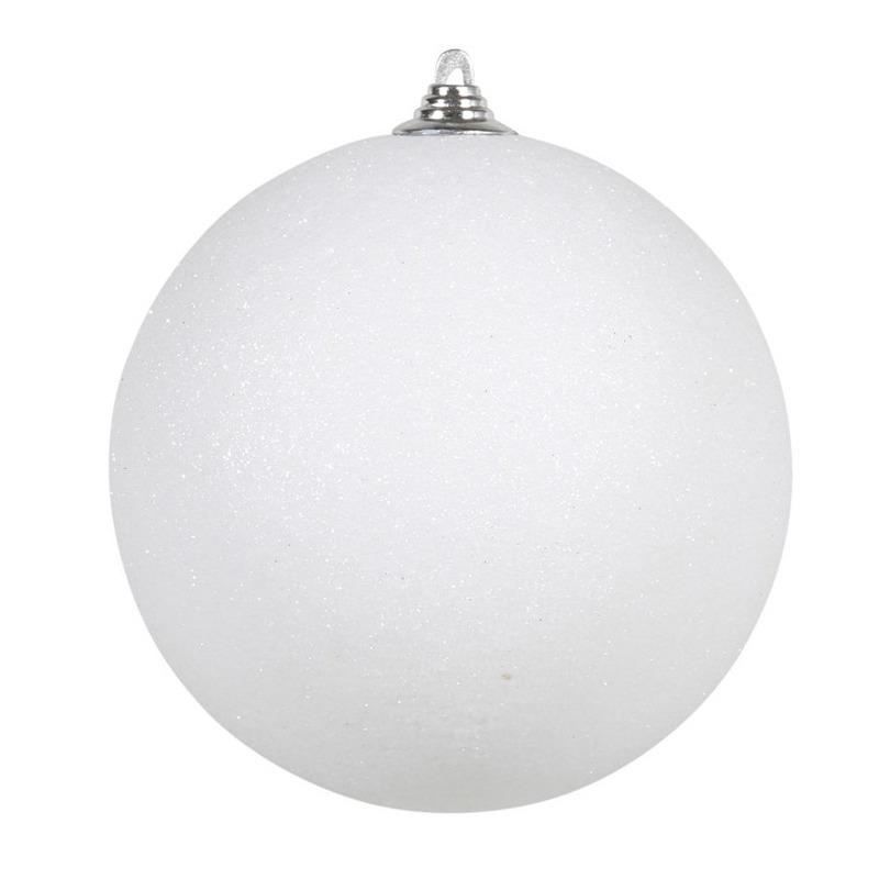 1x Witte grote decoratie kerstballen met glitter kunststof 25 cm