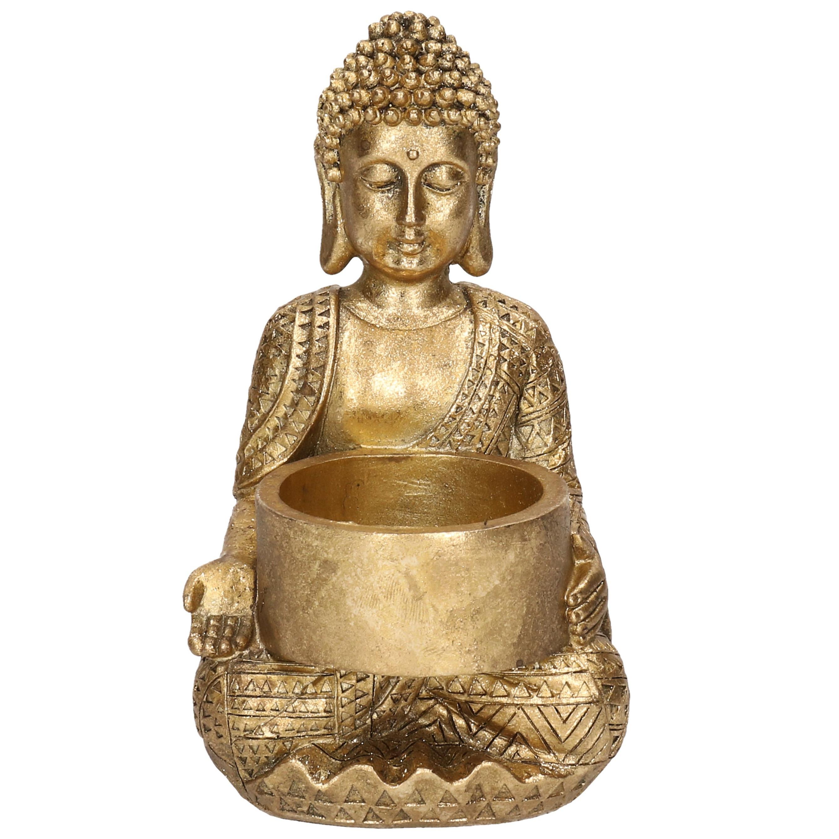 1x Zittende Boeddha waxinelichthouder goud 14 cm