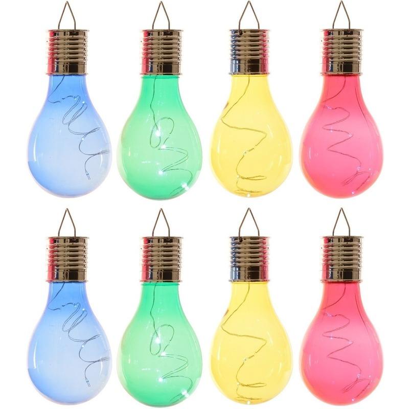 24x Buiten LED blauw-groen-geel-rood peertjes solar lampen 14 cm