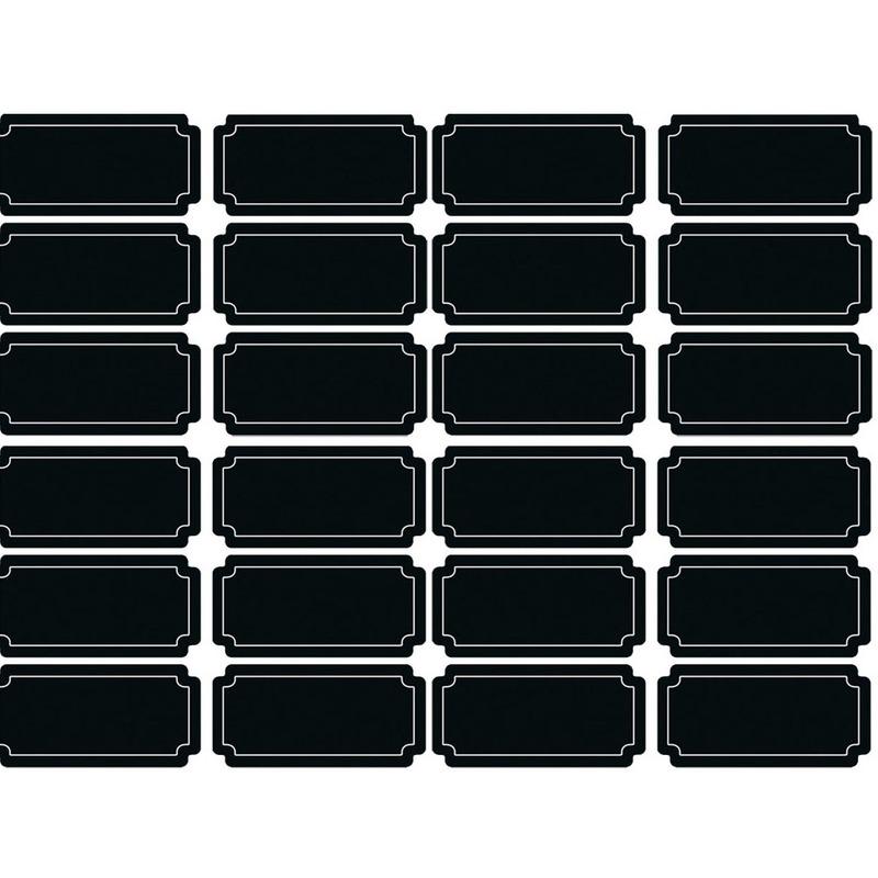 24x Krijtbord voorraadkast etiketten-stickers rechthoekig