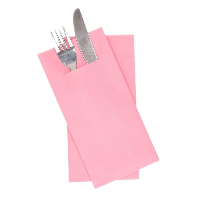 24x stuks Lichtroze servetten met bestek gleuf 40 cm