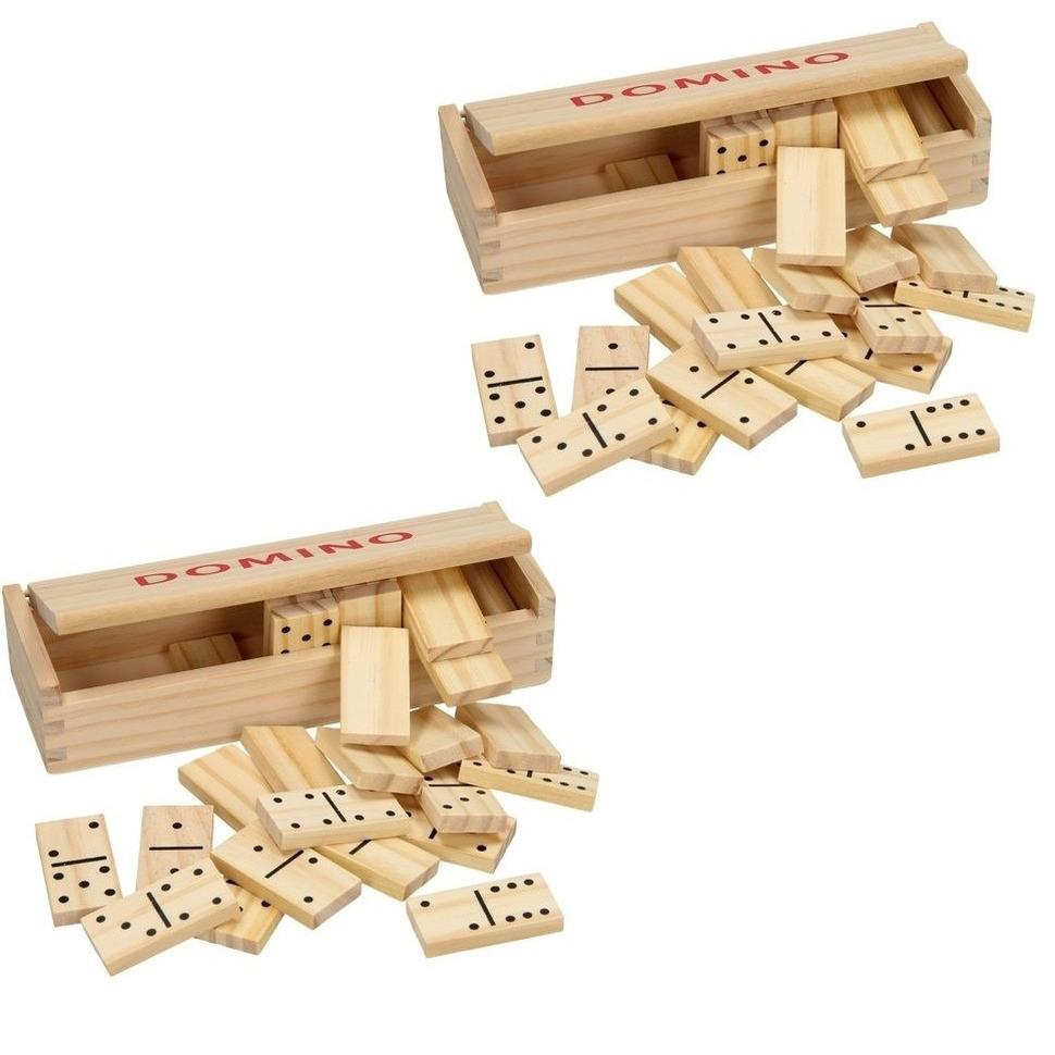 2x doosje Speelgoed houten domino spel in kistje 56x steentjes