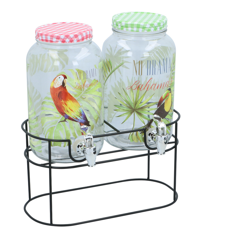 2x Glazen drank dispensers tropisch met brede standaard 3 liter
