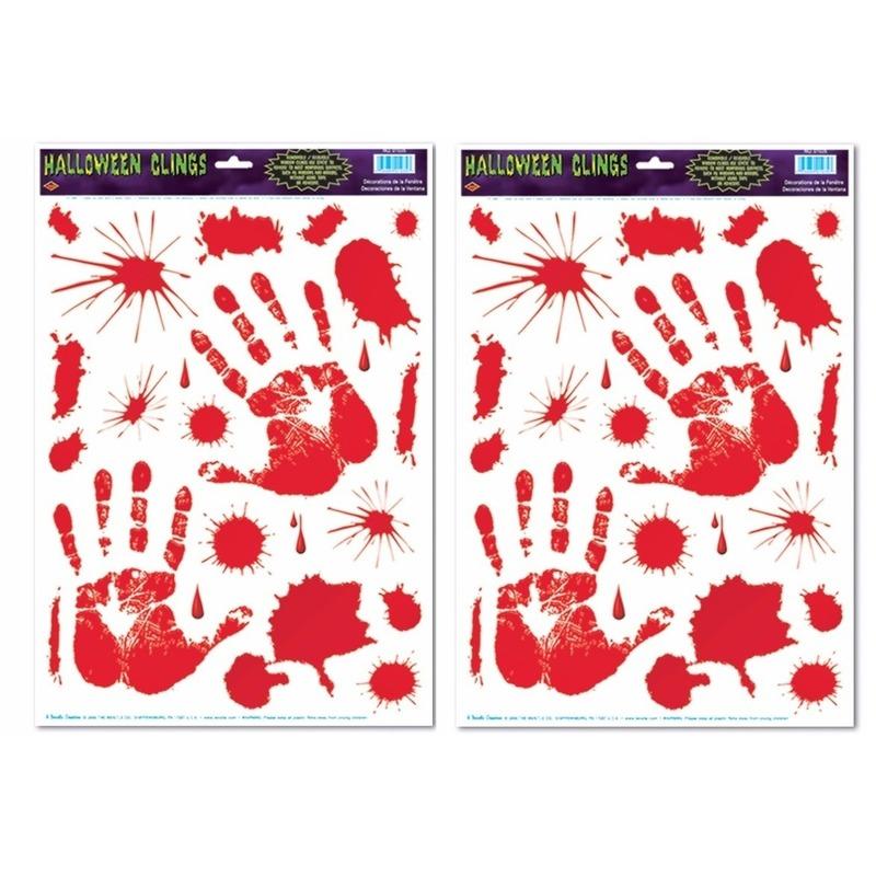 2x Halloween raamsticker met bloed handen
