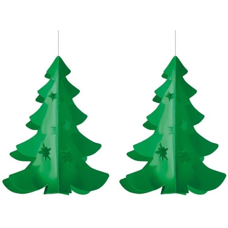 2x Hang deco kerstboom brandvertragend