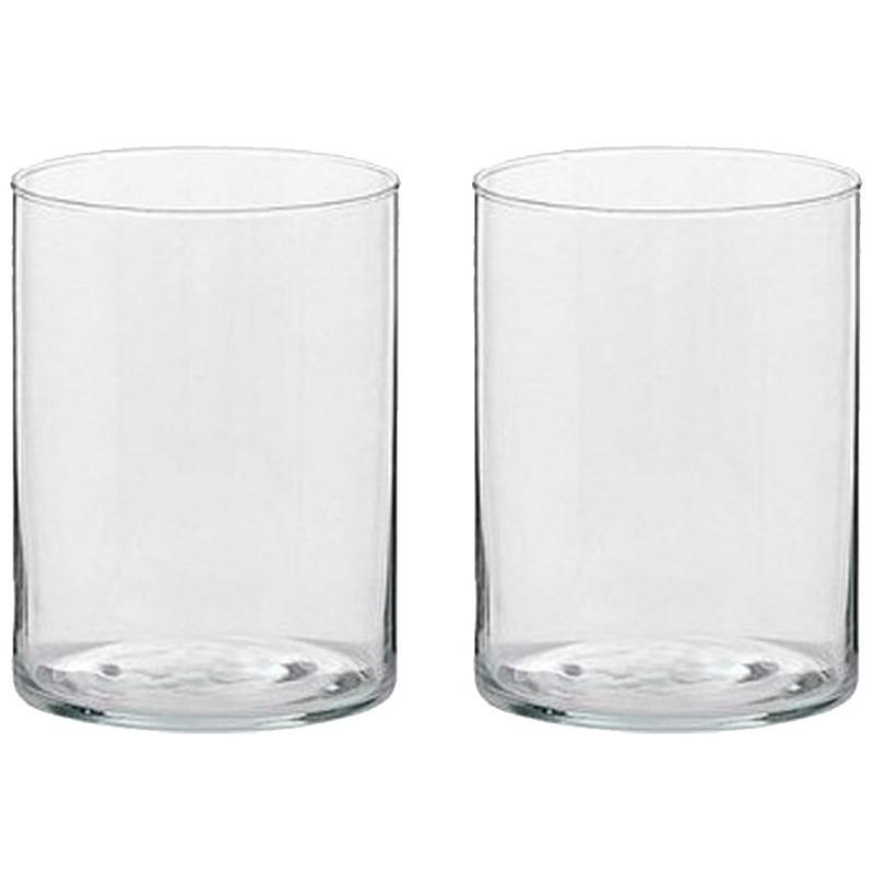 2x Hoge theelichthouders-waxinelichthouder van glas 5,5 x 6,5 cm