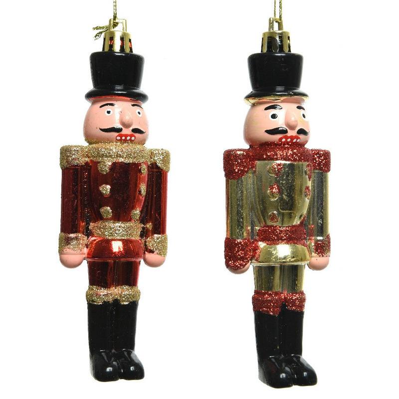 2x Kerstboomhangers notenkrakers poppetjes-soldaten 9 cm