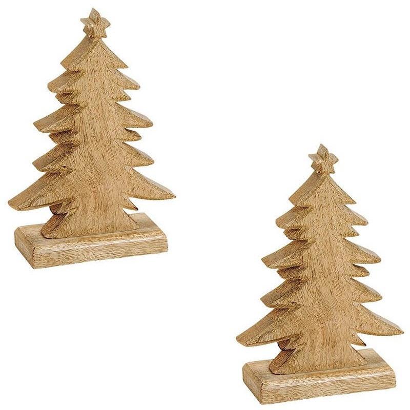2x Kerstdecoratie houten kerstbomen-kerstboompjes 20 cm