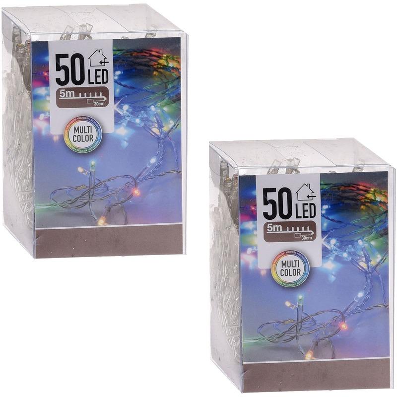 2x Kerstverlichting op batterij gekleurd 50 lampjes