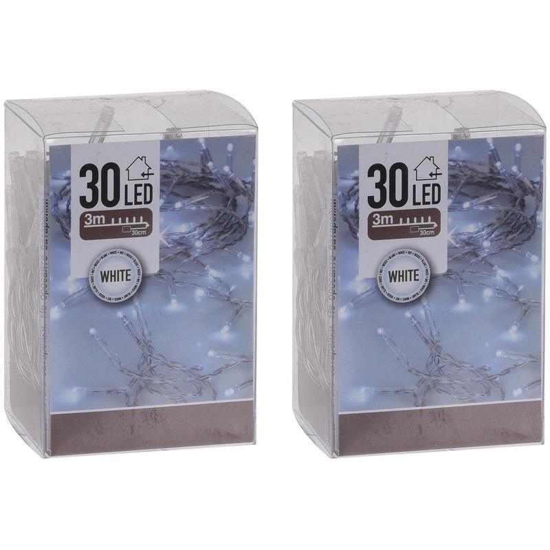 2x Kerstverlichting op batterij helder wit 30 lampjes