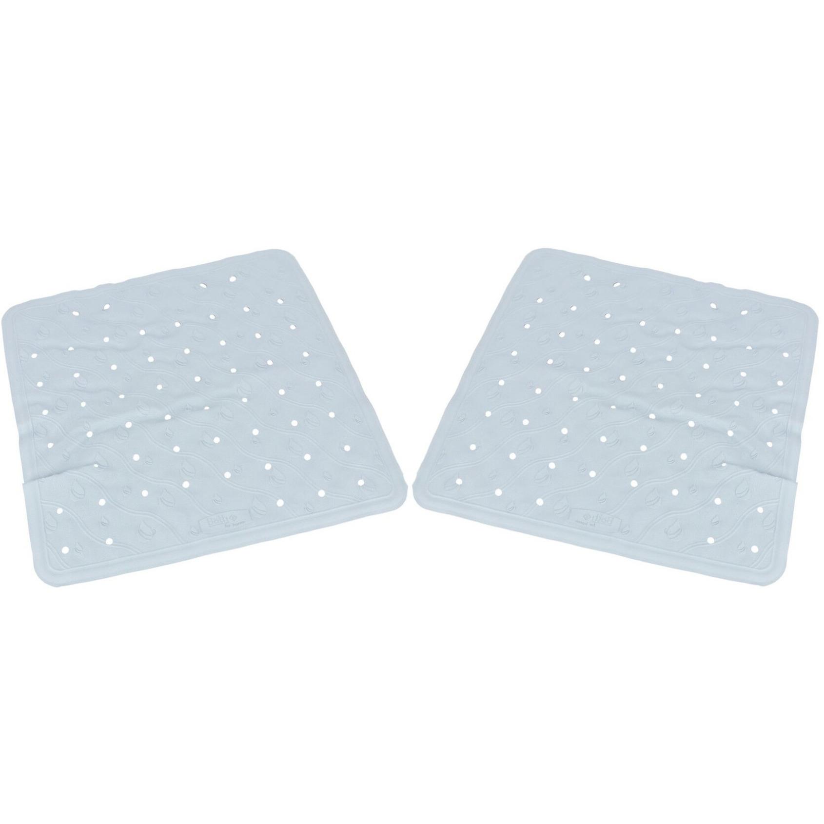 2x Lichtblauwe anti-slip badmatten-douchematten 45 x 45 cm vierkant