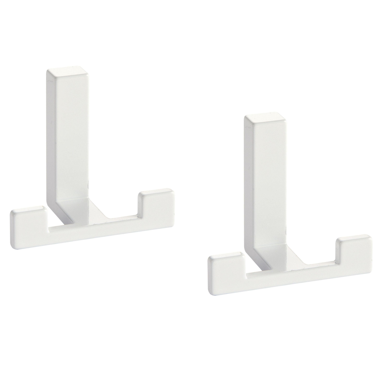 2x Luxe kapstokhaken-jashaken-kapstokhaakjes metaal modern wit dubbele haak 4 x 6,1 cm