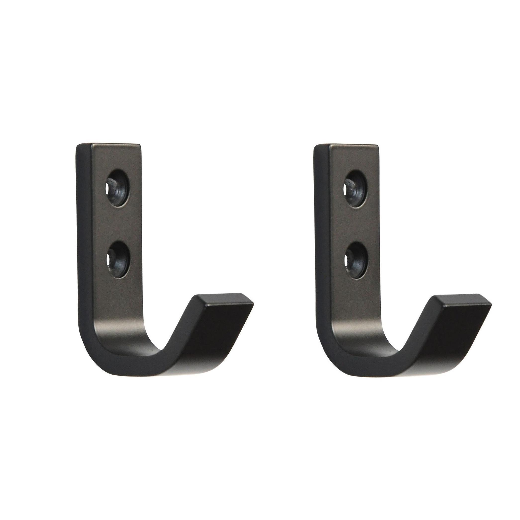 2x Luxe kapstokhaken-jashaken-kapstokhaakjes zwart hoogwaardig aluminium 5,4 x 3,7 cm