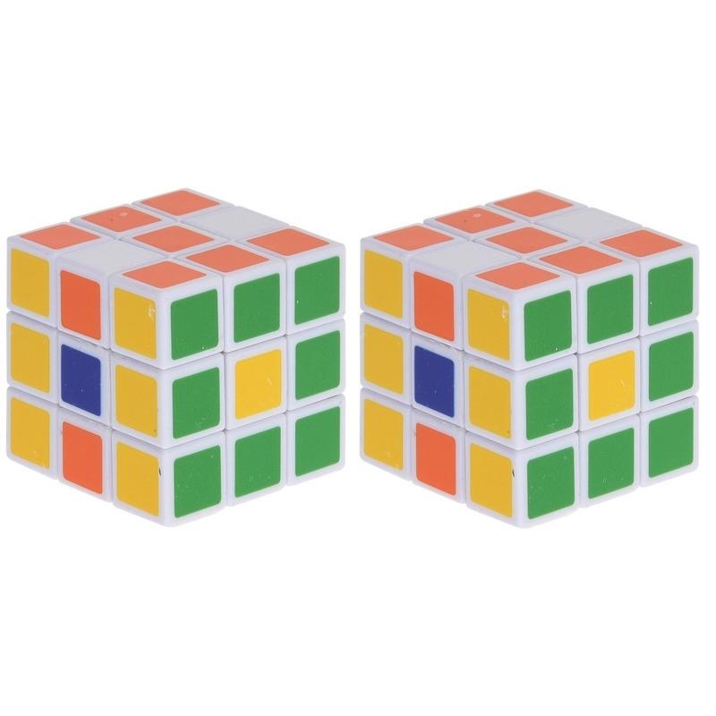 2x Magische kubus puzzel spelletjes 3,5 cm speelgoed