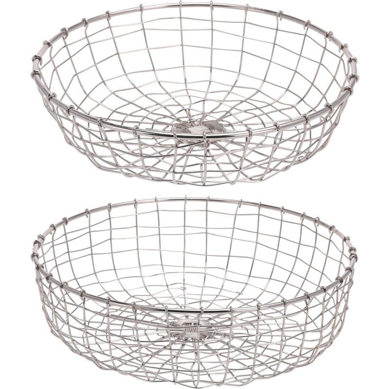 2x Metalen decoratie schalen-fruitschaal draadmand zilver 34 cm