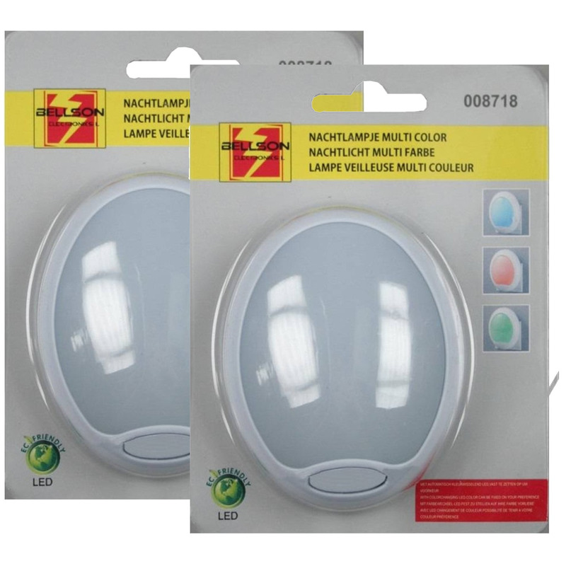 2x Nachtlampje stopcontact LED rood-blauw-groen