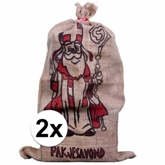 2x Sinterklaas zakken van jute 60 x 102 cm Cadeau /feestartikelen/thema-feestartikelen/sinterklaas/sinterklaas-inpakmaterialen/sinterklaas-cadeau-kado-zakken