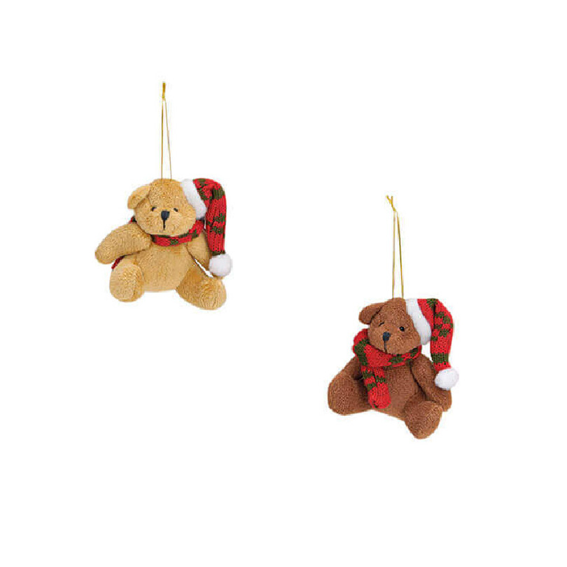 2x Stuks kersthangers knuffelbeertjes met sjaal om 7 cm