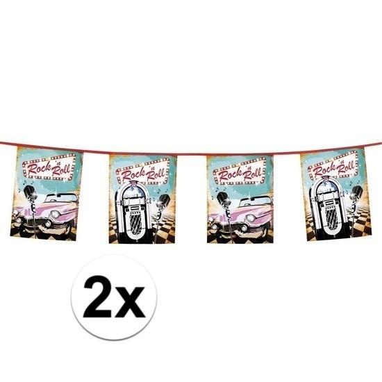 2x stuks Rock n Roll vlaggenlijnen van 6 meter