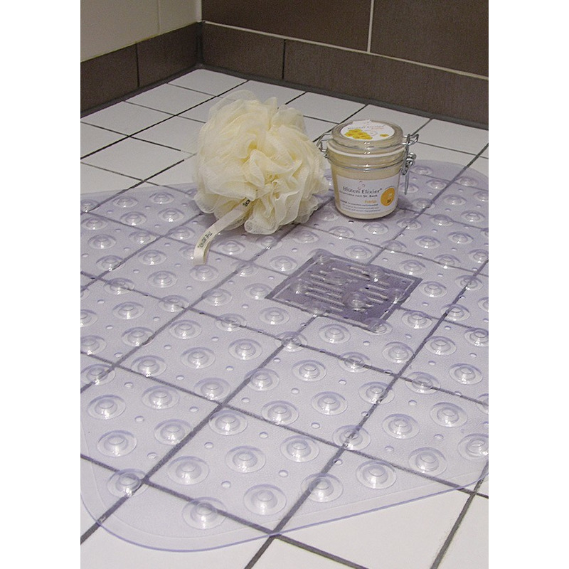 2x Transparante antislip badmat-douchemat 52 x 53 cm