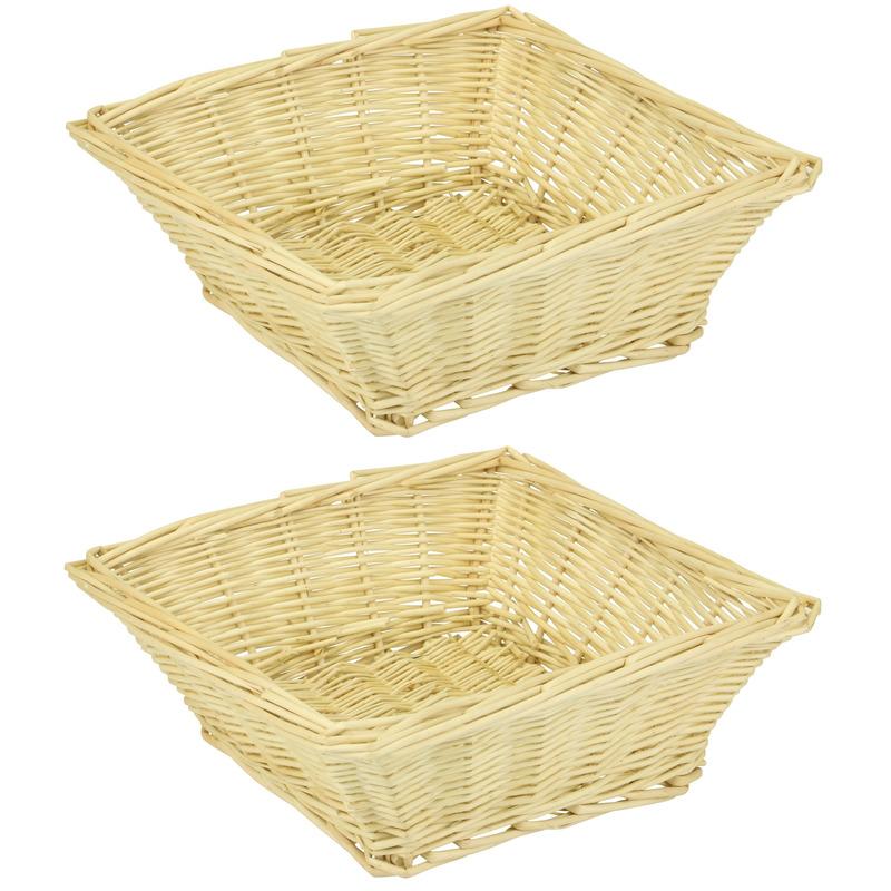 2x Vierkante rieten manden-schalen 26 x 26 x 8 cm