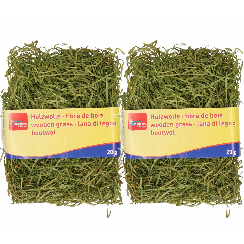 2x zakjes groen kleur houtwol 20 gram vulmateriaal-vulling
