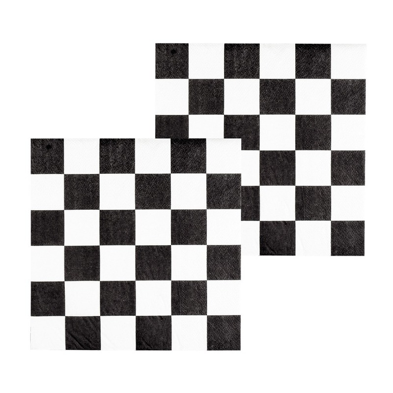 36x Finish auto racing servetten zwart-wit geblokt