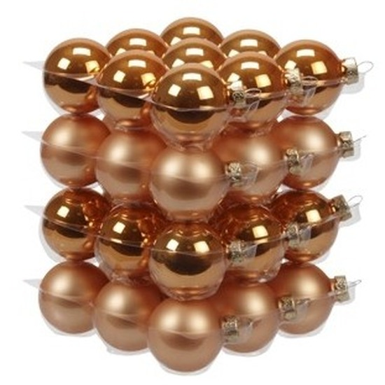 36x Oranje glazen kerstballen 4 cm mat-glans