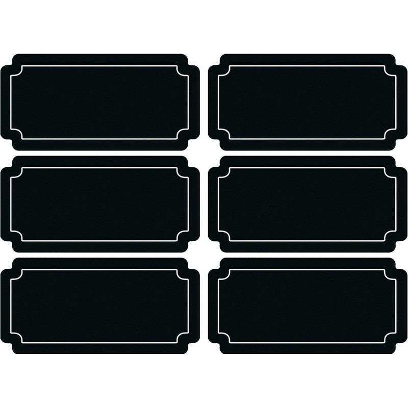 36x stuks Krijtbord voorraadkast etiketten-stickers rechthoekig