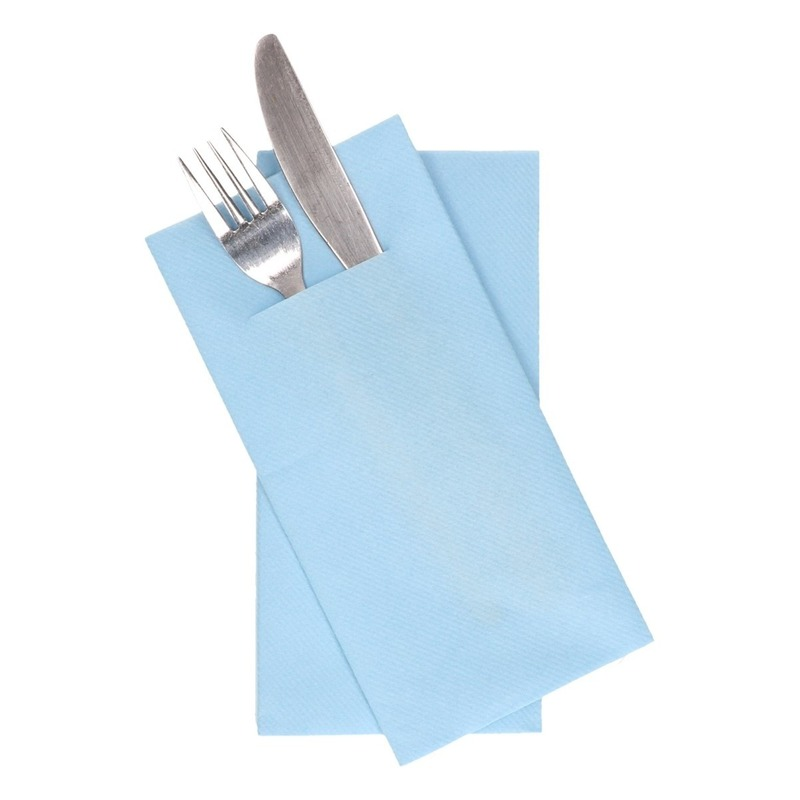 36x stuks Lichtblauwe servetten met bestek gleuf 40 cm