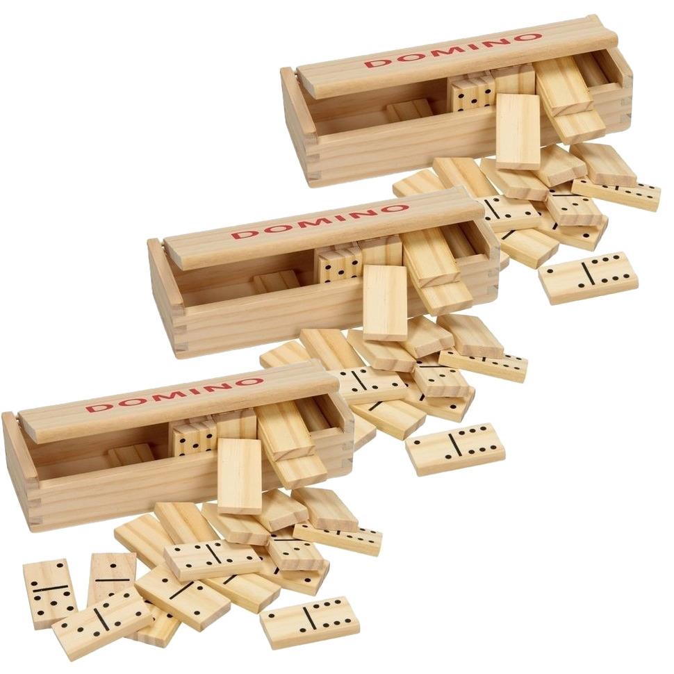 3x doosje Speelgoed houten domino spel in kistje 84x steentjes