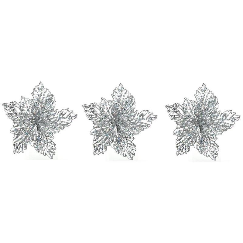 3x Kerstboomversiering op clip zilveren glitter bloem 23 cm