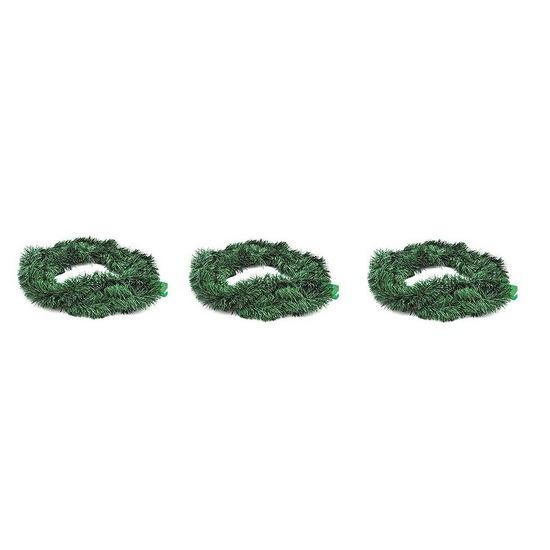 3x Kerstmis versiering groene slinger 270 cm