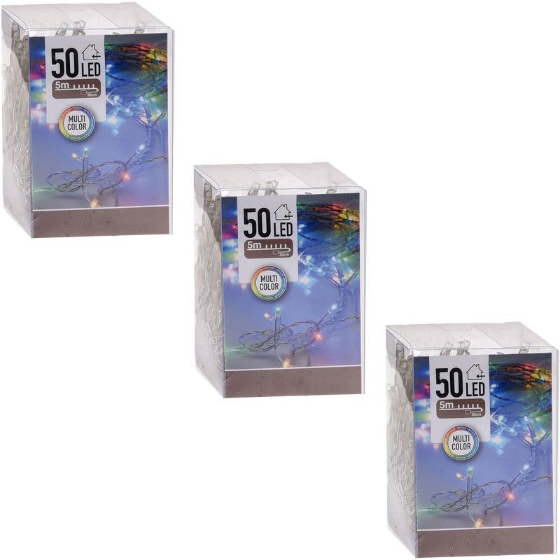 3x Kerstverlichting op batterij gekleurd 50 lampjes