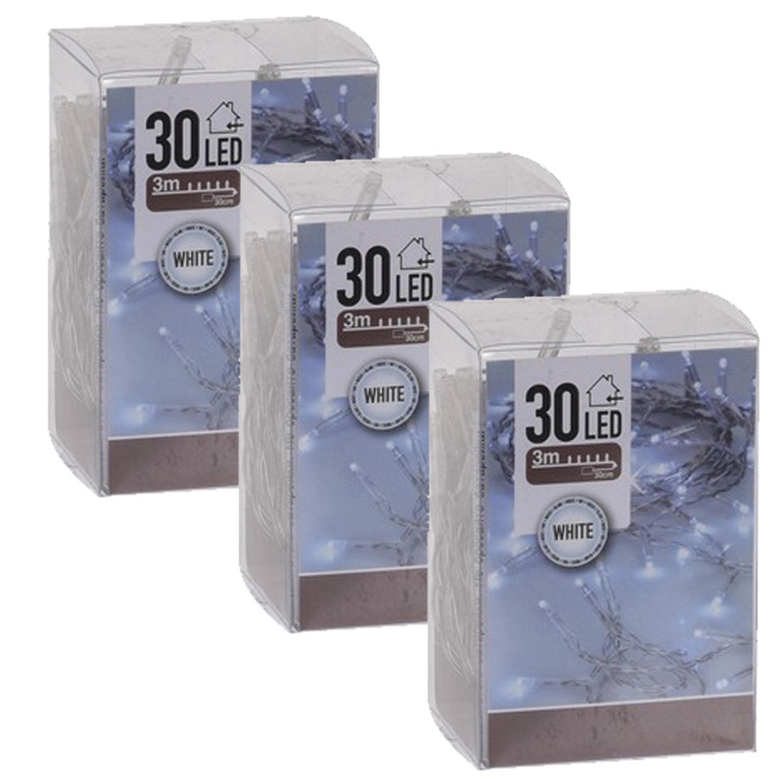 3x Kerstverlichting op batterij helder wit 30 lampjes