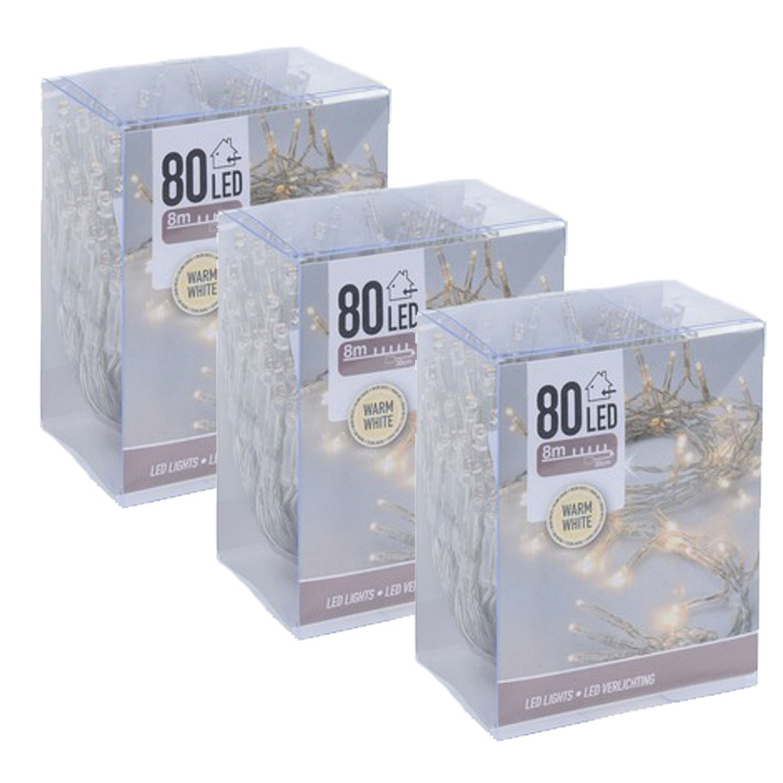 3x Kerstverlichting op batterij warm wit 80 lampjes