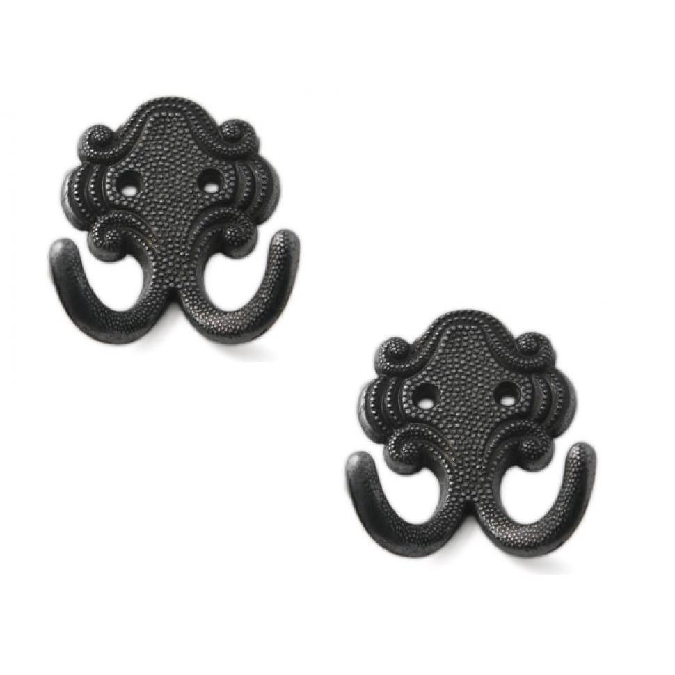 3x Luxe kapstokhaken-jashaken-kapstokhaakjes zamac zwart dubbele haak 6,7 x 5,2 cm