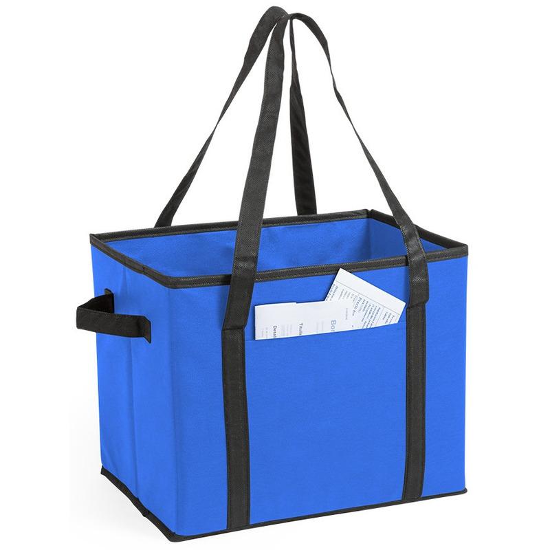 3x stuks auto kofferbak-kasten organizer tassen blauw vouwbaar 34 x 28 x 25 cm